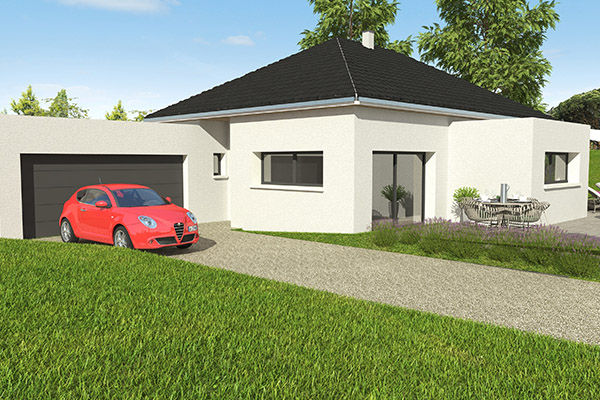 maison de plain pied garage accolé extension toit plat alsace construction